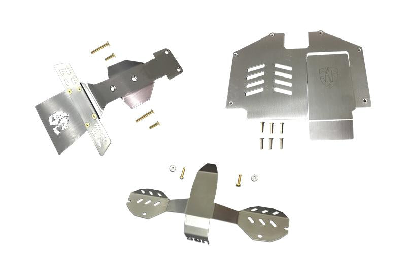 Statinless Steel Skid Plates For Front, Center, Rear Chassis For Traxxas Unlimited Desert Racer 4X4 (#85076-4) - 18Pc Set