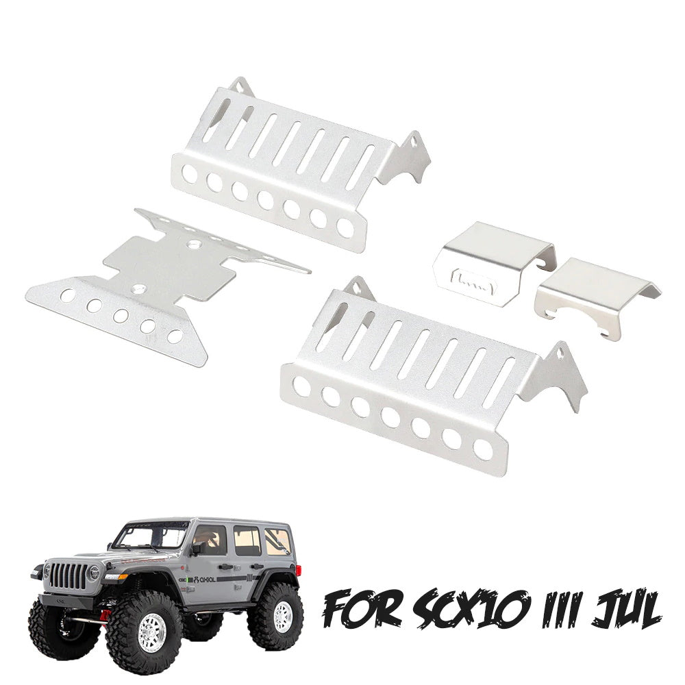 RC Chassis Skid Plate Funien 5Pcs Stainless Steel Axle Protector Chassis Armor Protection Skid Plate Compatible with RC Crawler Axial Scx10 Iii Axi03007
