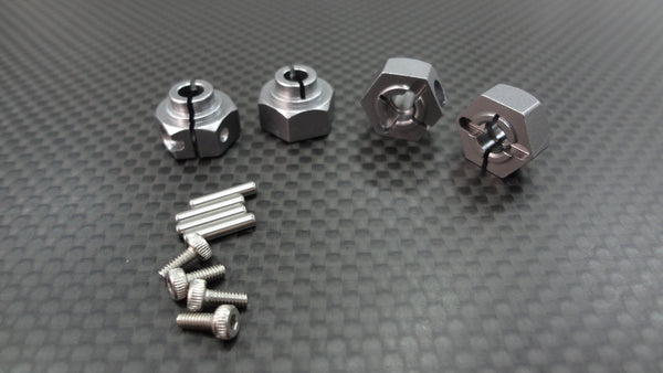 Axial Wraith & RR10 Bomber Aluminum Hex Adaptors (12mm) - 4Pcs Set Gray Silver
