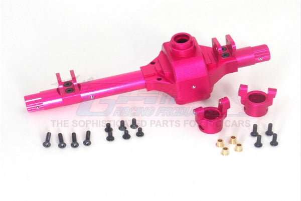 Axial Wraith 4WD Rock Racer Aluminum Front/Rear Axle Housing & C-Hub - 4Pcs Set Pink