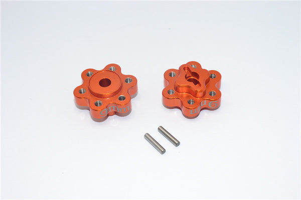 Axial Yeti Aluminum 2.2 Wheel Hub Adapters (9mm Thickness) - 1Pr Set Orange
