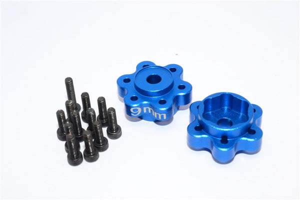Axial Yeti, Exo, Wraith & SCX10 Aluminum 2.2 Wheel Hub Adapters (9mm Thickness) - 1Pr Set Blue