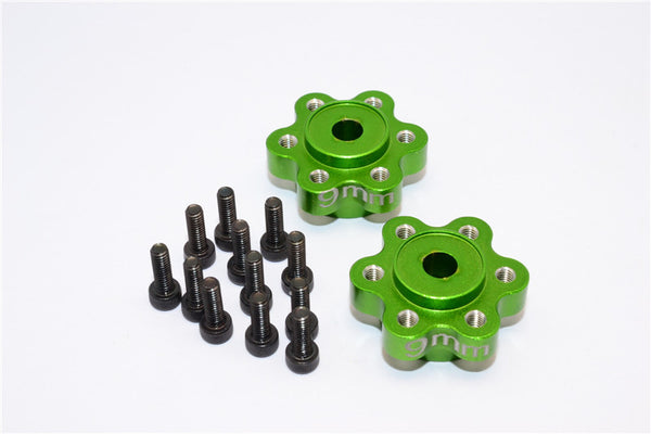 Axial Yeti, Exo, Wraith & SCX10 Aluminum 2.2 Wheel Hub Adapters (9mm Thickness) - 1Pr Set Green