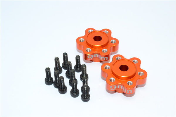 Axial Yeti, Exo, Wraith & SCX10 Aluminum 2.2 Wheel Hub Adapters (9mm Thickness) - 1Pr Set Orange