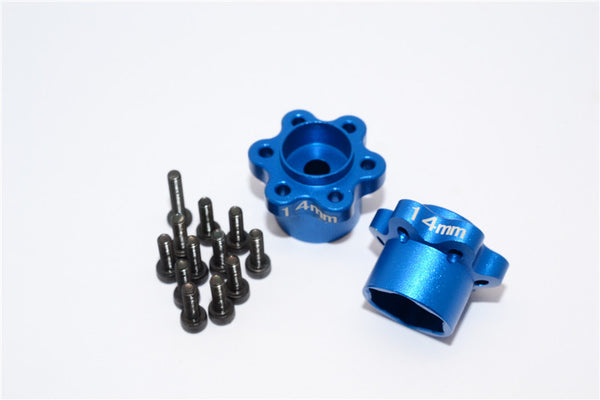 Axial Yeti, Exo, Wraith & SCX10 Aluminum 2.2 Wheel Hub Adapters (14mm Thickness) - 1Pr Set Blue