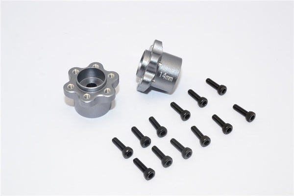 Axial Yeti, Exo, Wraith & SCX10 Aluminum 2.2 Wheel Hub Adapters (14mm Thickness) - 1Pr Set Gray Silver