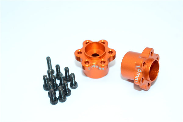 Axial Yeti, Exo, Wraith & SCX10 Aluminum 2.2 Wheel Hub Adapters (14mm Thickness) - 1Pr Set Orange