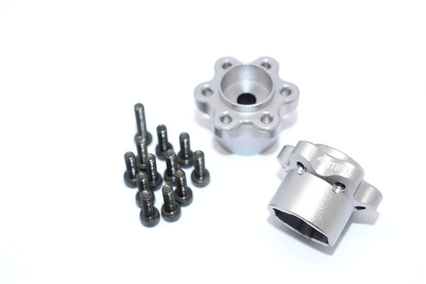 Axial Yeti, Exo, Wraith & SCX10 Aluminum 2.2 Wheel Hub Adapters (14mm Thickness) - 1Pr Set Silver