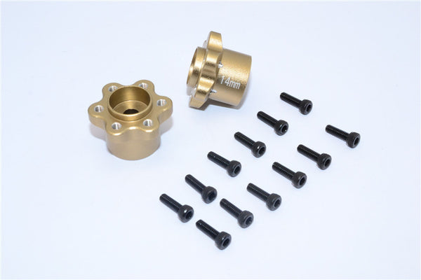 Axial Yeti, Exo, Wraith & SCX10 Aluminum 2.2 Wheel Hub Adapters (14mm Thickness) - 1Pr Set Titanium