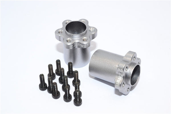 Axial Yeti, Exo, Wraith & SCX10 Aluminum 2.2 Wheel Hub Adapters (22mm Thickness) - 1Pr Set Gray Silver