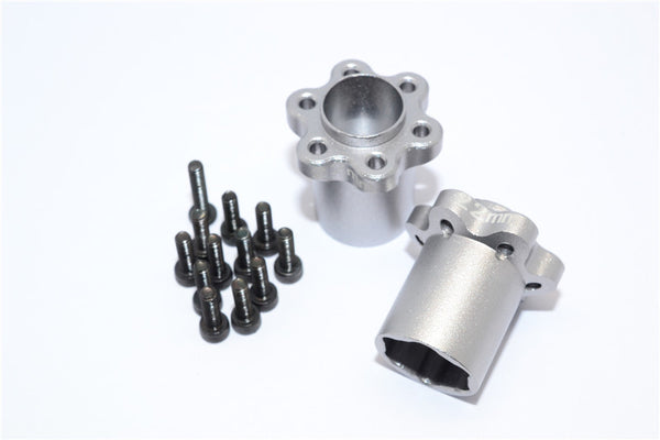 Axial Yeti, Exo, Wraith & SCX10 Aluminum 2.2 Wheel Hub Adapters (22mm Thickness) - 1Pr Set Silver