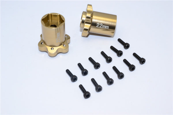 Axial Yeti, Exo, Wraith & SCX10 Aluminum 2.2 Wheel Hub Adapters (22mm Thickness) - 1Pr Set Titanium
