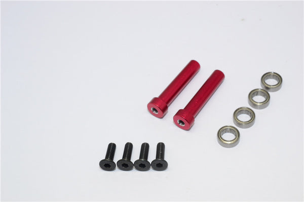 Axial Yeti Aluminum Steering Assembly Posts With Bearings - 2 Pcs Set Red
