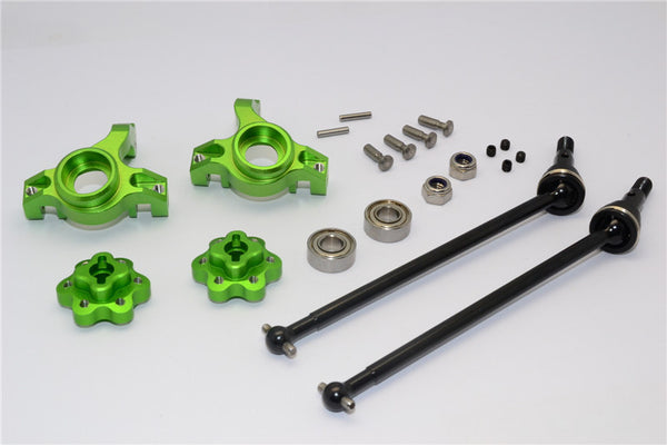 Axial Yeti Aluminum Front Knuckle Arm With Hex Adapters & Steel Front CVD Drive Shaft - 6Pcs Set (Thickness Design) Green