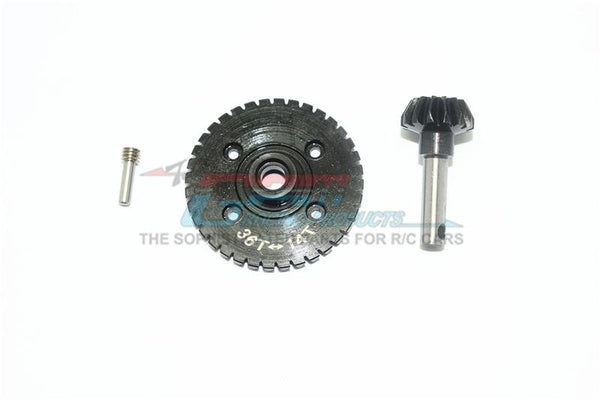 Harden Steel #45 Diff Bevel Gear 36T & Pinion Gear 14T For Axial RR10 / Wraith Spawn / Yeti / Yeti Score / SMT10 - 3Pc Set Black
