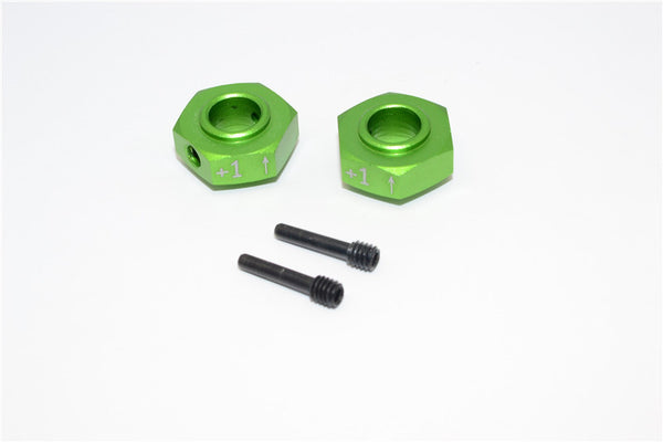 Axial Yeti XL Monster Buggy Aluminum Hex Adapter (+1mm Thickness) - 2 Pcs Set Green