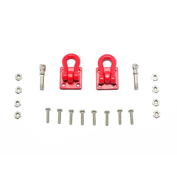 R/C Scale Accessories : Simulation Aluminum Tow Recovery Point Set For 1:10 Crawlers - 1Pr Set Red