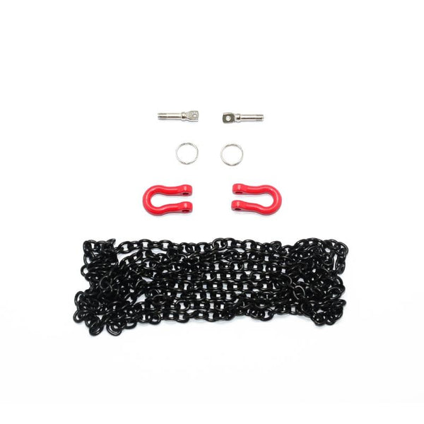 R/C Scale Accessories : Simulation Metal Towing Rings With Chain For 1:10 Crawlers - 1 Set Black