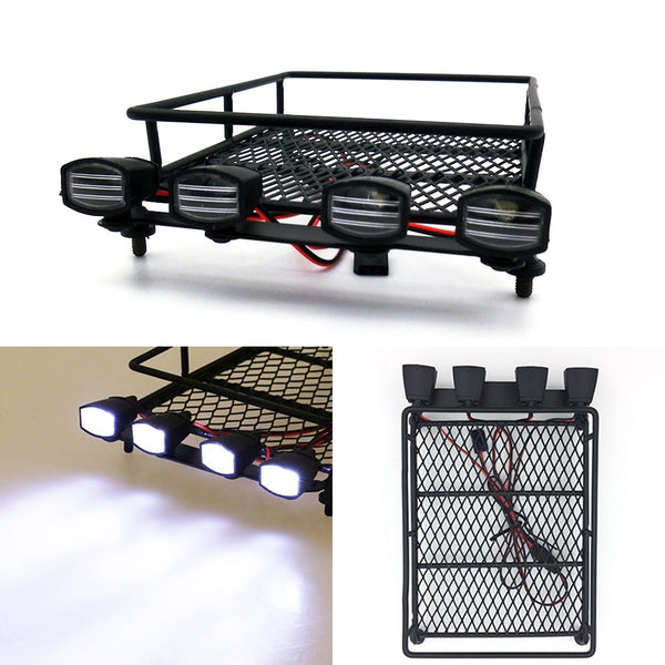 R/C Scale Accessories : Roof Rack Luggage Carrier & Light Bar For 1:10 Crawlers - 1 Set Black