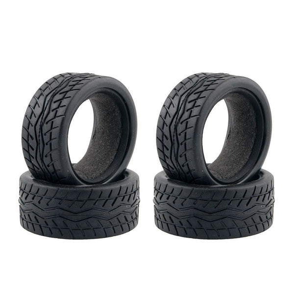 4Pcs High Quality Black Rubber Tyre for 1:10 4WD R/C On Road Touring Cars