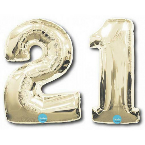 "21 Number Balloons White Gold 100cm (40"") - This Little Party"