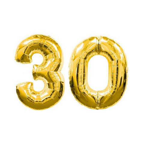 "30 Number Balloons Gold 100cm (40"") - This Little Party"