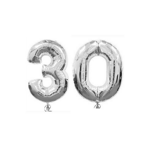 "30th Silver Balloon Numbers 100cm (40"") 30 - This Little Party"