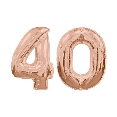 "40 Number Balloons Rose Gold 100cm (40"") - This Little Party"