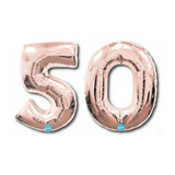 "50 Number Balloons Rose Gold 100cm (40"") - This Little Party"