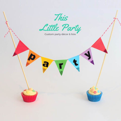 Cake Topper - Mini Bunting Flags - This Little Party