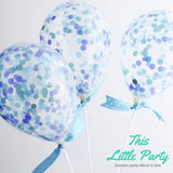 Blue Confetti Balloon Party Kit - Cute Party Decoration or Cake Topper - This Little Party