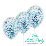 Blue Confetti Balloons - Pack of 3 x 28cm Party Balloon Decorations - This Little Party