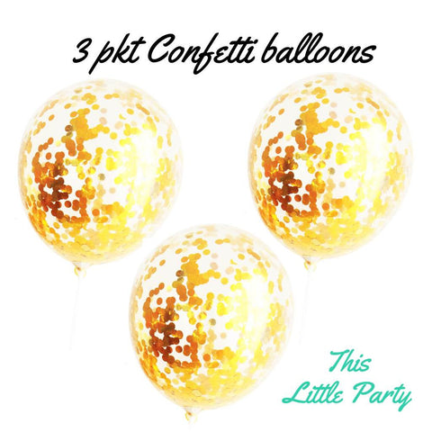 Gold Confetti Balloons - This Little Party