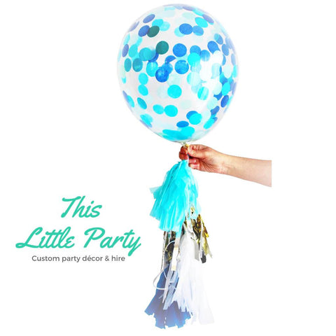 Blue Confetti Balloon - Larger 40cm size with jumbo confetti! - This Little Party