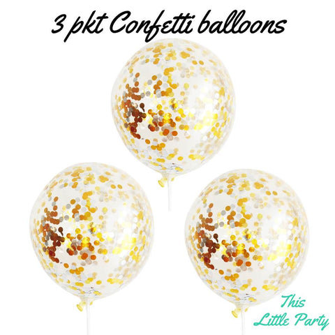 Gold & Silver Confetti Balloons 3 Pkt - This Little Party