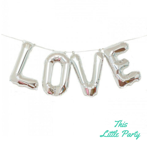 LOVE Balloon Silver Banner Decoration - This Little Party