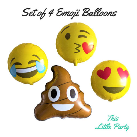 Emoji Balloons :) Set of 4 Awesome Party Decorations! - This Little Party
