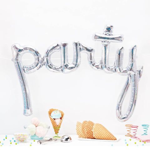 Silver Holographic Party Script Balloon - This Little Party