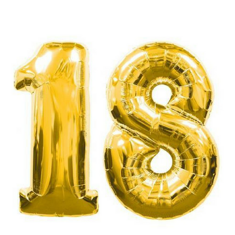 "18 Number Balloons Gold 100cm (40"") - This Little Party"