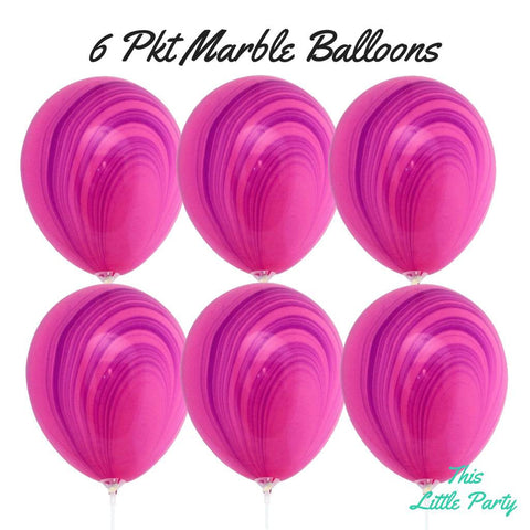Pink & Purple Marble Balloons Pkt 6 - This Little Party