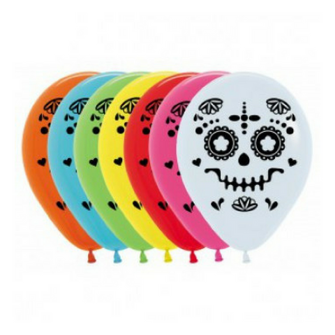 Mexican Sugar Skull Cinco De Mayo Balloons 12pk - This Little Party