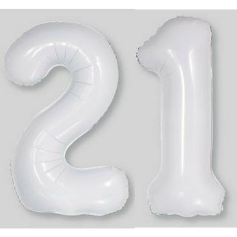 21 Number Balloons Grey Off White 86cm - This Little Party