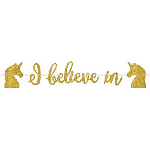 Unicorn Gold Glitter Banner - This Little Party