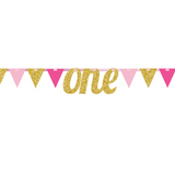 1st Birthday Pink & Gold Bunting Banner - This Little Party