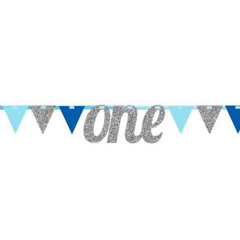 1st Birthday Blue & Silver Bunting Banner - This Little Party