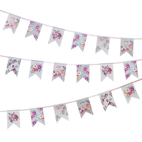 Paper Bunting Flags Floral - This Little Party
