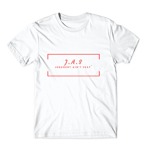 "White Tee ""J.A.S"" Red logo"