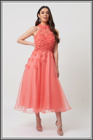 Forever Unique Aretha Dress in Coral