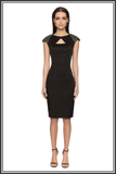Arlington Embellished Cap-sleeve Satin Dress - Black