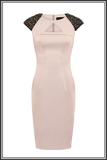 Arlington Embellished Cap-sleeve Satin Dress - Dusty Pink